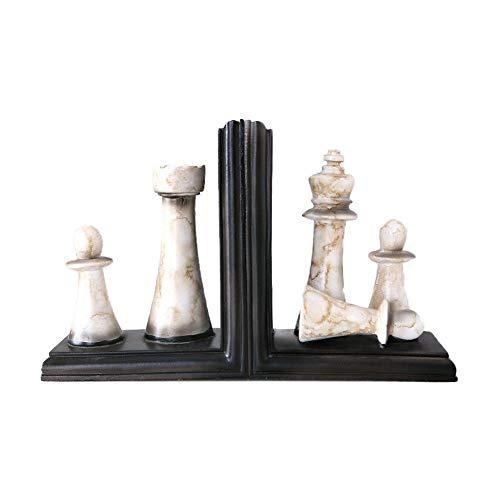 SANDM Retro Resina Sujetalibros Decorativos, Ajedrez Sujetalibros Escritorio Sujetalibros para la Oficina Heavy Duty Decor Arte-E
