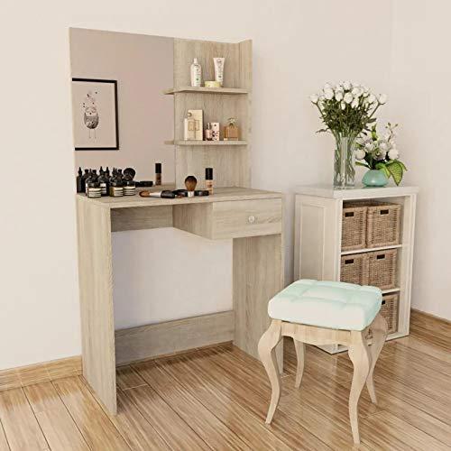 GOTOTOP Mesa de cosmética con Espejo, Juego de Tocador de Maquillaje con cajón y 2 Estantes, 75 x 40 x 141 cm, Color Roble