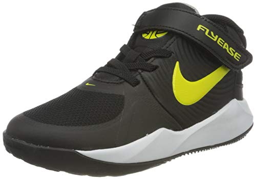 Nike Team Hustle D 9 Flyease Basketball Shoe, Black/High Voltage-White-Smoke Grey, 32 EU
