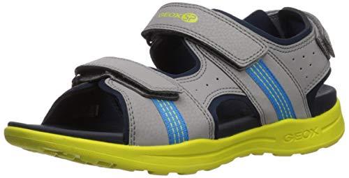 Geox VANIETT Boy J925XB Jungen Trekking Sandalen,Kinder Outdoor-Sandale,Sport-Sandale,Aussensteg,3-Fach Klett,Grey/Lime,30