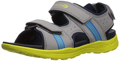 Geox VANIETT Boy J925XB Jungen Trekking Sandalen,Kinder Outdoor-Sandale,Sport-Sandale,Aussensteg,3-Fach Klett,Grey/Lime,34