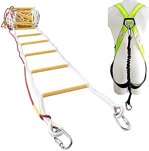 ISOP Rope Ladder Fire Escape 3 - 4 Story Homes 32 ft (10m) Unique Safety Ladder – Weather Resistant Compact & Portable External Ladder