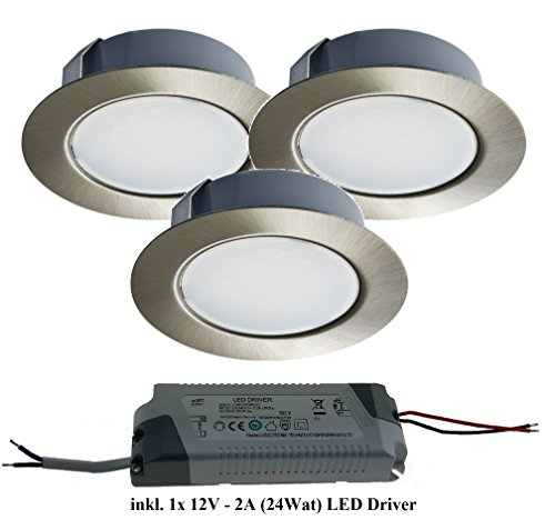 Trango 3er Pack LED Möbeleinbauleuchte Edelstahl-Look 12 Volt - AC/DC TGG4E-032T inkl. 1x LED Trafo (12Volt 2000mAh) zum Ersetzen herkömmlichen G4 Möbelleuchten I Küchenhaube Lampe