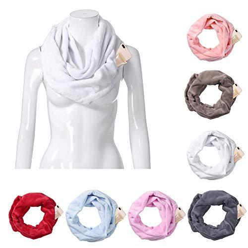 DBSCD Infinity-Schal mit versteckter Reißverschlusstasche, Multifunktionstaschen-Lätzchen, hautfreundliche Plüsch-Cabrio-Schals für den Winter, weiß