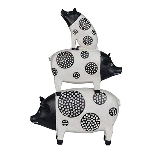 """Exhart Stacked Black and White Pigs Outdoor Décor - Cute  Hand-Painted Pig Sculpture - Weather Resistant Resin Pig Garden Statue - Pig Yard Decoration for Home & Garden  9.5"""" L x 3"""" W x 13"""" H"""