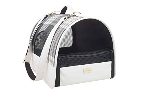 amiplay Hundetragetasche 'Kent' | Transportbox | Hundebox | Transporthütte | Hundetasche | Hunde-Reisebox , Farbe:Weiß, Größe:L | 45 [x] x 29 [y] x 28 [h] cm