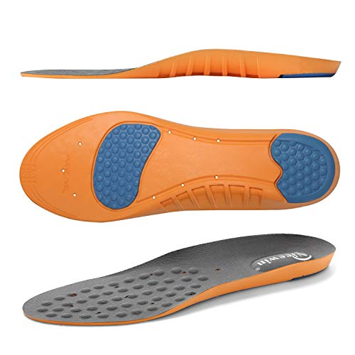 Shoes Insoles for Men Women Work Boots with All-Day Shock Absorption and Arch Support, Foot Pain Relief Orthotics Inserts for Plantar Fasciitis Flat Feet Lower Back Heel Pain Grey M