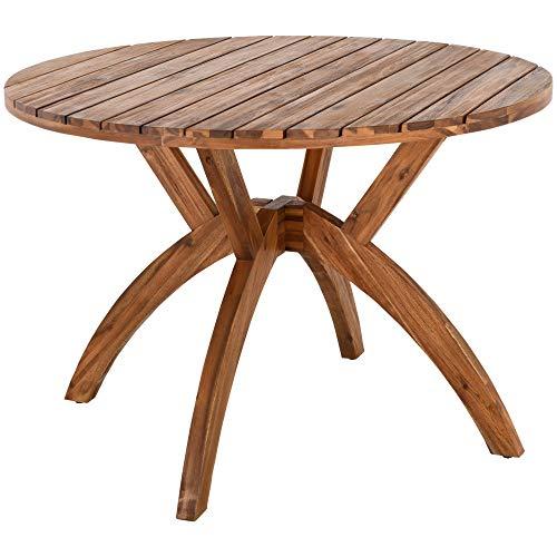 Raburg Gartentisch Akazie XL in Natur - geölter, runder Esstisch aus Akazie, Massivholz, sehr stabil & leicht, wetterfest & UV-beständig, 4 Stellschrauben für festen Stand, für bis 4 Personen