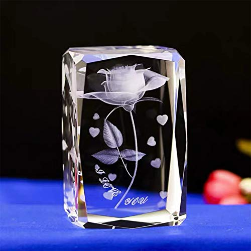 3D Laser Etched Crystal Rose,K9 Crystal Glass Cube Engrave I Love You,Birthday Present Valentine's Day Gifts for Girlfriend Aunt Wife Mom, Love Memorial Unique Anniversary Long Distance Friendship