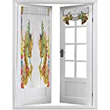 French Door Blinds, Chinese Style Dragon Statue Spiritual Power Symbols Oriental Culture Theme, 1 Pack W26 x L68 Light Block French Door Curtain, Golden Red