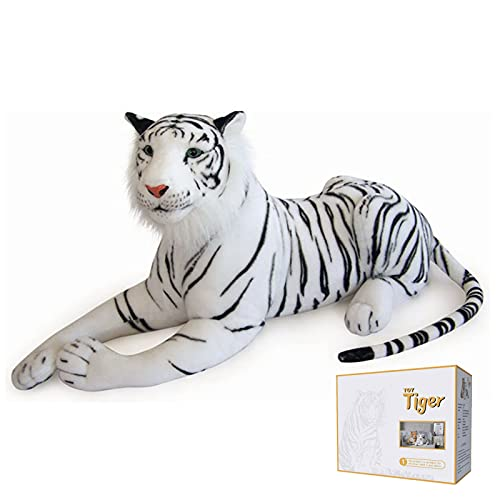 """Goldmind White Siberia Real Life Tiger Stuffed Animal Giant Animal Tiger Plush Toy 28"""" (not Including The Tail Size) Tiger Pillow Suitable for Children's Birthday Gifts for Children"""