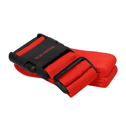 Travelite Koffergurt Gepäckgurt Gepäckriemen Kofferband Gepäckband 000208-93, Farbe:Rot