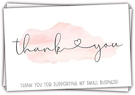 50 Pink Watercolor 4x6 Thank You for Supporting My Small Business Customer Thank You for Order product image