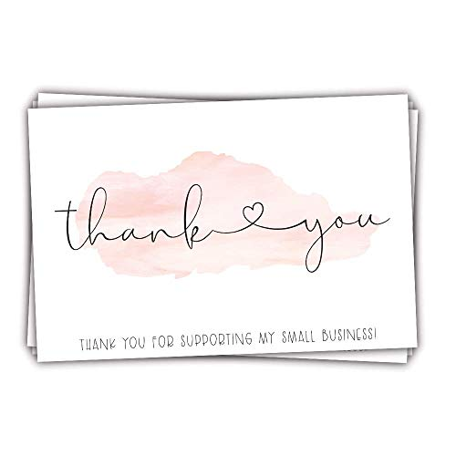 50 Pink Watercolor 4x6 Thank You for Supporting My Small Business - Customer Thank You for Order Cards - Small Online Business Package Insert