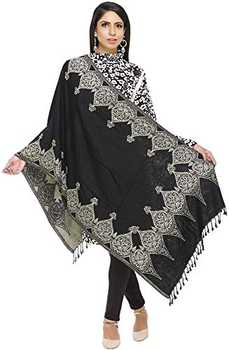 Vrouwen Zwarte Wol Acryl Omkeerbare Sjaal Stol Wrap India 28 in x 80 in