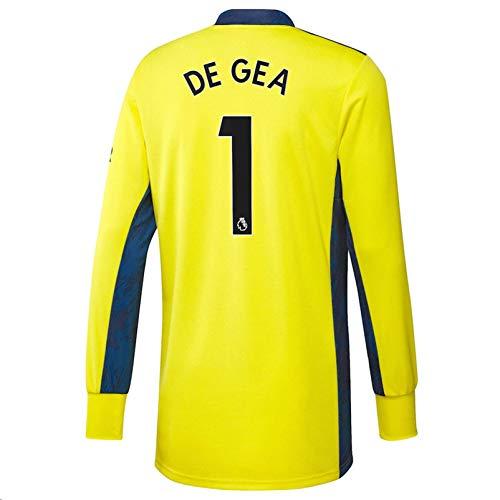 Jertinhf 2020-2021 Men's Soccer Goalkeeper Long Sleeve Jersey/Short Colour Yellow (Manchester United De GEA #1 (S))