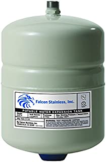 Falcon Stainless EXPT-4 Thermal Potable Water Expansion Tank 4.8 Gal with Butyl Bladder/Polypropylene Liner and Stainless Steel 3/4-Inch Male Thread Connection for up to 120-Gallon Water Heaters