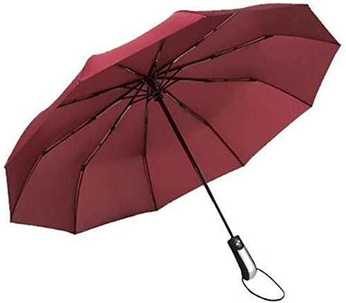 ZJJJD Regenschirm Dreifach Zehn Knochen Erhöhen wasserdichte Kleine Robuste Winddichte Tragbare Leichte Reise Regenschirm Faltsonne Automatische Markise-Wein Rot Regenschirm Sturmsicher Lightweight