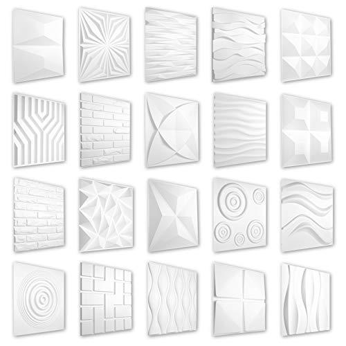 HEXIM 3D Paneele 50x50cm - Große Auswahl an detaillierten PVC Kunststoffplatten für effektvolle Wand- & Deckengestaltungen - Perfect HD032
