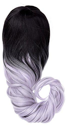 amback lang Dye donkere wortels Ombre Cosplay Halloweenpruik voor vrouwen krullend haar pruiken pruiken kap/Light Purple rf19