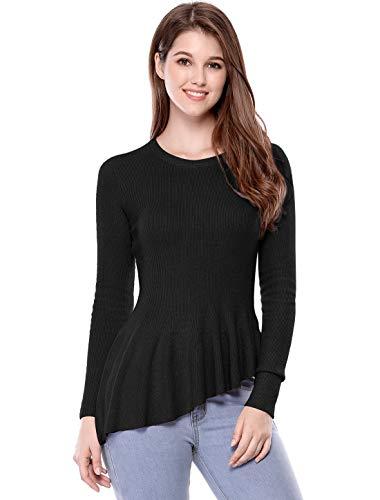 Allegra K Women's Long Sleeve Ribbed Knit Ruffle Hem Peplum Top L Black