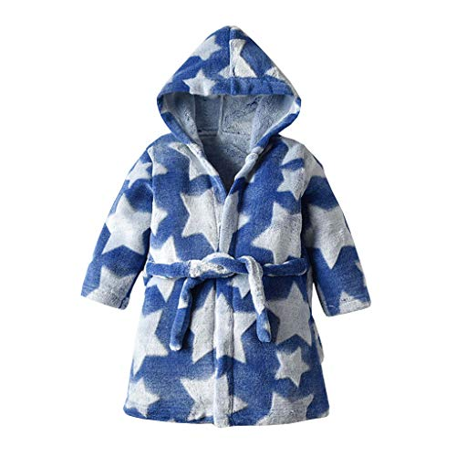 Kinder Bademäntel TTLOVE Flanell Hooded Bademäntel Stern-Drucken Schlafanzug Junge Mädchen Baumwolle Lange Nachthemd Nachtwäsche Kinder Pyjama (Marine,90)