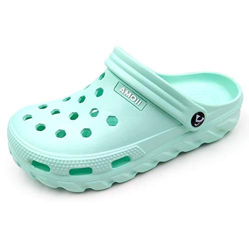 AMOJI Zuecos Zapatos de jardín Hombres Zapatillas de plástico Zapatos de jardín Mujeres Sabot Sandalias Zapatos de Ducha Verano Adultos Hombre Mujer Menta 35 EU