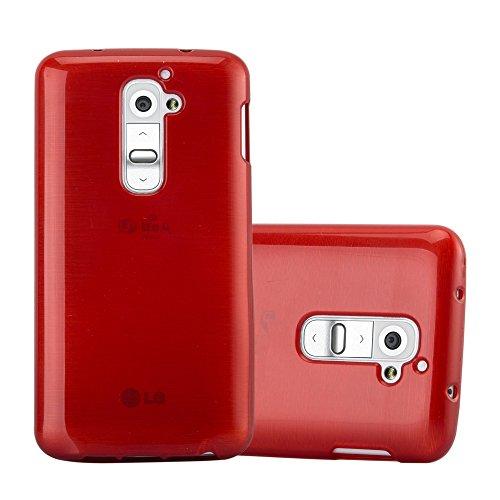 Cadorabo Custodia per LG G2 in ROSSO CREMISI - Morbida Cover Protettiva Sottile di Silicone TPU con Bordo Protezione - Ultra Slim Case Antiurto Gel Back Bumper Guscio