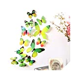 ステッカーウォール| 12ピース3D PVCかわいい蝶壁ステッカー冷蔵庫ステッカー家の部屋の装飾DIY美しい装飾ポスター壁ステッカーアートデカール-グリーン-