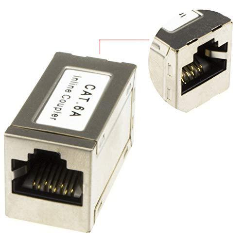 CAT6A Blindado FTP En Línea Cable Joiner/Coupler para Joining Red Internet Cable...