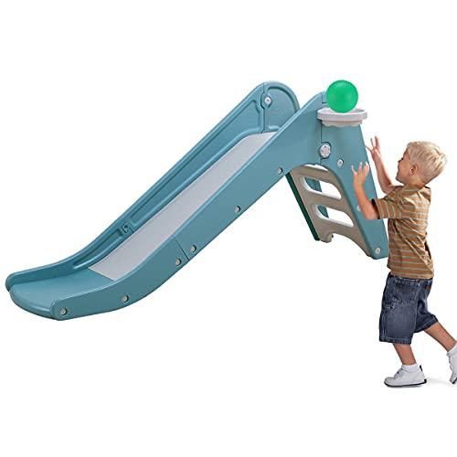 Kinderrutsche, Gartenrutsche mit Basketballkorb Rutsche für drinnen und draußen, für Kinder ab 1-6 (Grün)