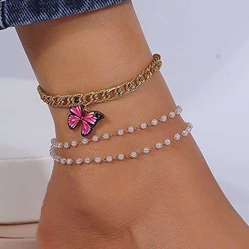 Ushiny Tobilleras bohemias con perlas doradas y mariposas, tobilleras de verano en capas, para mujeres y niñas (3 piezas)