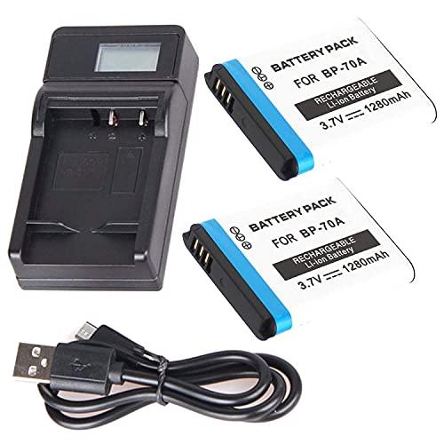 F-MINGNIAN-SPRING Cámaras de viaje LCD USB Kit de cargador de batería rápido compatible con cámaras digitales Samsung AQ100, DV150F, MV800 (color 2 pilas y 1 cargador USB LCD)