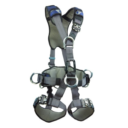 3M DBI-SALA ExoFit NEX 1113347 Full Body Rope Access/Rescue Harness, Alum Back/Front/Suspension D-Rings, Belt w/ Pad/Side D-Rings, Locking QC Leg Straps, Large, Blue/Grey