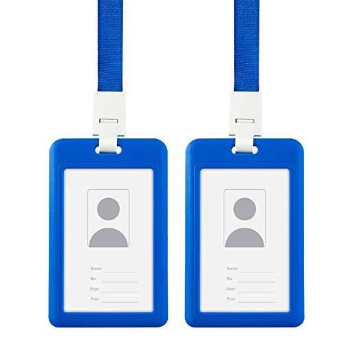 LxwSin Funda de Tarjeta de Identificación, Funda de Tarjeta con Cordon, 2 PCS Soporte de Tarjeta Identificativa Doble Cara, Funda para Tarjeta Impermeable para Exposición/Oficina/Empleado/Estudiante