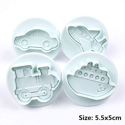 NOBRAND Home Essentials 4 Stuks Set van Vliegtuigen Voertuig Brandstof Tank Auto Vorm Plastic Koekje Koekjes En Fudge Cake Lade Taart Decoratie Tool Candy Mold