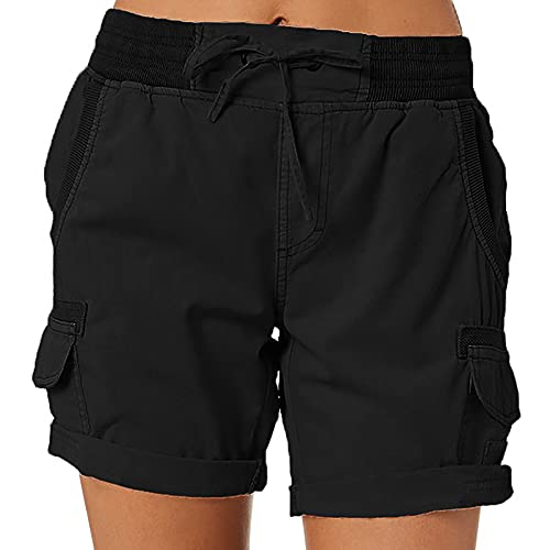 IVERIRMIN Women's Hiking Cargo Shorts Golf Outdoor Active Elastic Waist Drawstring Summer Travel Shorts Pockets (Black, Large, l)