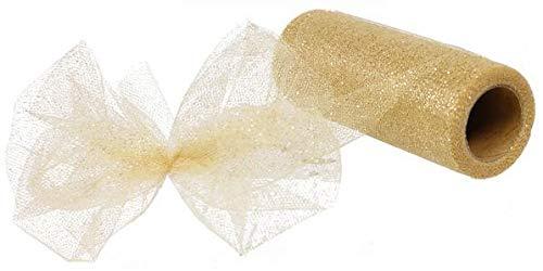Gliter Tulle Ribbon Spool - 6' x 25 Yards - 75 Feet (Gold)