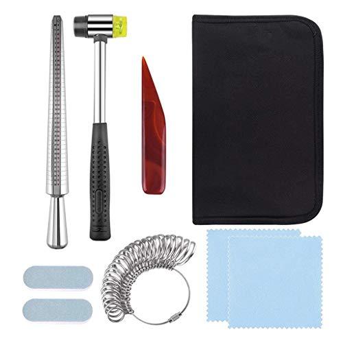 LAOLEE 9 piezas de herramientas de medición de anillo para joyeros, mandril de martillo para medir los dedos, (1 juego) kit de reparación de medición de anillos