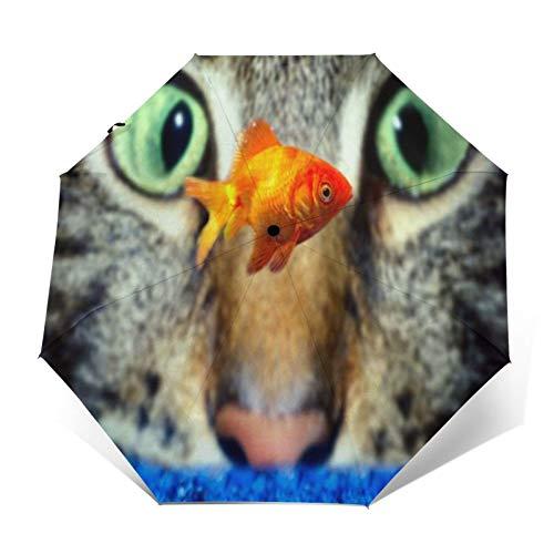 TISAGUER Paraguas automático de Apertura/Cierre,Gato Gris Mirando Goldfish en la bañera,Paraguas pequeño Plegable a Prueba de Viento