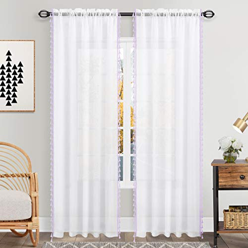 Purple Linen Look Curtains 95 Inches Long Set 2 Panels Rod Pocket Elegant Woven Textured Voile Sheer Drapes for Bedroom Living Room Patio Sliding Door Home Office Backdrop 52x95 Inch Length Lavender