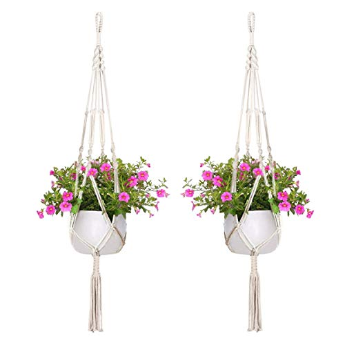 Minerlele, fioriera da appendere in corda con 2 motivi per interni in macramè, grande e piccolo, da appendere alla parete, per vasi da fiori per soffitto, giardino, balcone, cestino sospeso