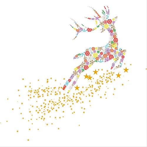Zes stukken: Kerstmis Statische Sticker Venster Plakken Glas Venster Bloem Statische Ongemarkeerde Mall raamdecoratie Sticker Droom Sneeuwvlok Vliegende Herten