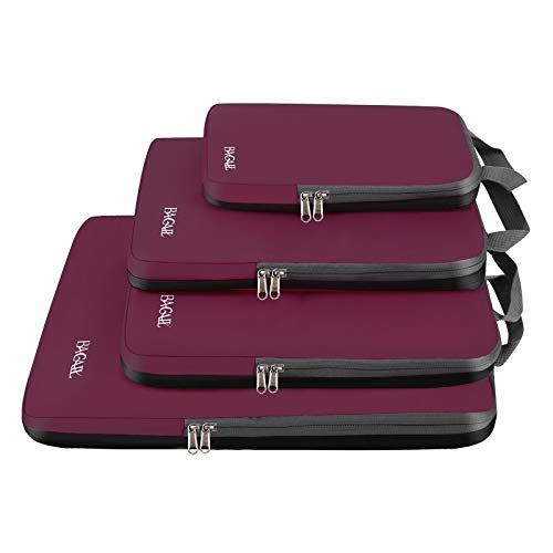 Bagail 4 Set/6 Set Compression Packing Cubes Travel Expandable Packing Organizers(Burgundy,4 Set)