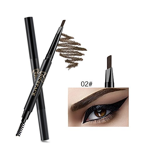 NICEFACE Augenbrauenstift Dunkelbraun Double Ended Precision Waterproof Brow (Dunkelbraun/Dark Brown # 2)