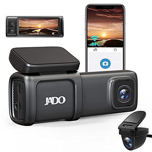 JADO ドライブレコーダー 前後カメラ 4K 800万画素 wifi搭載 小型 ドラレコ 駐車監視 緊急録画 SONYセンサー 170度超広角 HDR/WDR搭載 スーパー暗視機能 超鮮明夜間撮影 Gセンサー 衝撃感知 簡単取付 高速起動 LED信号機対策 ノイズ対策済 防水バックカメラ 32GB SDカード付属 日本語取説付 (JADO D390)