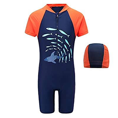 Boys One Piece Swimsuits Short Sleeve Rash Guard Shirt Bathing Suits for Boys 6T