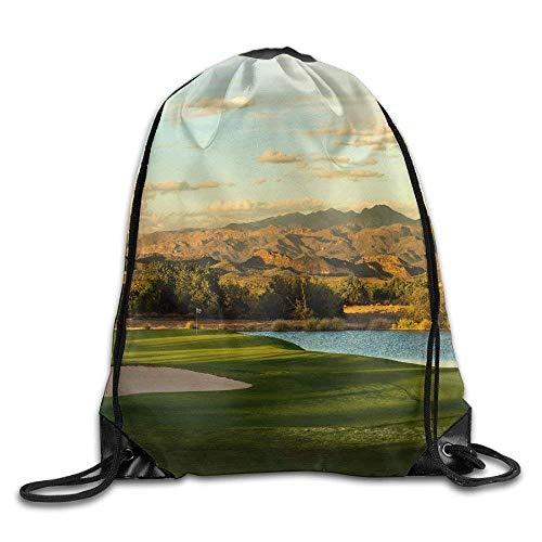 uykjuykj Sacs à Dos,Sacs de Sport,Sacs à Cordon, Unisex River Golf Print Drawstring Backpack...