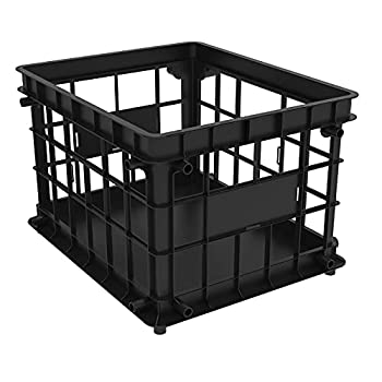 Storex Standard File Crate – Letter and Legal Document and Folder Storage Black 1-Pack  61659A03C