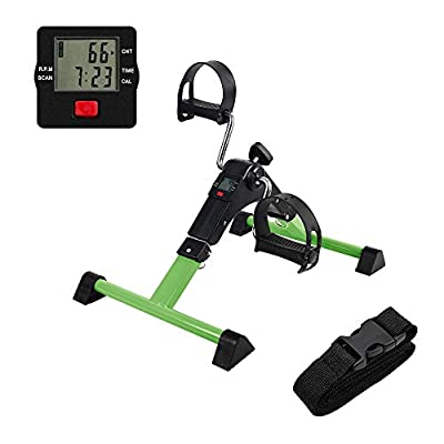 AHMED Folding Under Desk Bike Pedal Exerciser for Arm/Leg Medical Fitness Exercise Bike Mini Portable Home Workout (Green)
